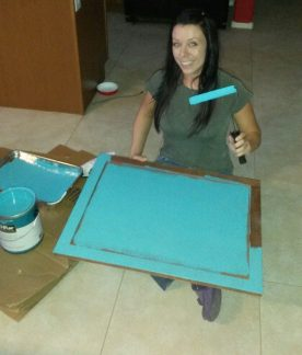 me painting kitchen cabinets